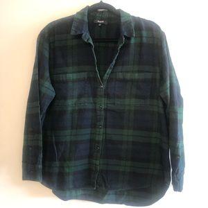 Madewell Green& Blue Plaid Flannel SZ L